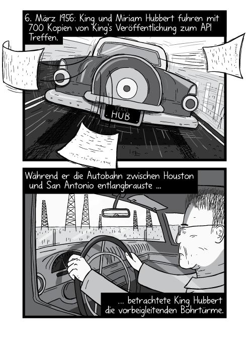Rückansicht auf einen alten Ford Thunderbird der eine Strassen entlang braust. 6. März 1956: King und Miriam Hubbert fuhren mit 700 Kopien von King's Veröffentlichung zum API Treffen. Während er die Autobahn zwischen Houston und San Antonio entlangbrauste betrachtete King Hubbert die vorbeigleitenden Bohrtürme.