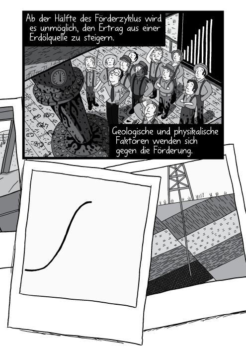 Querschnittzeichnung durch Erdschichten und ein Bohrturm. Ab der Hälfte des Förderzyklus wird es unmöglich, den Ertrag aus einer Erdölquelle zu steigern. Geologische und physikalische Faktoren wenden sich gegen die Förderung.