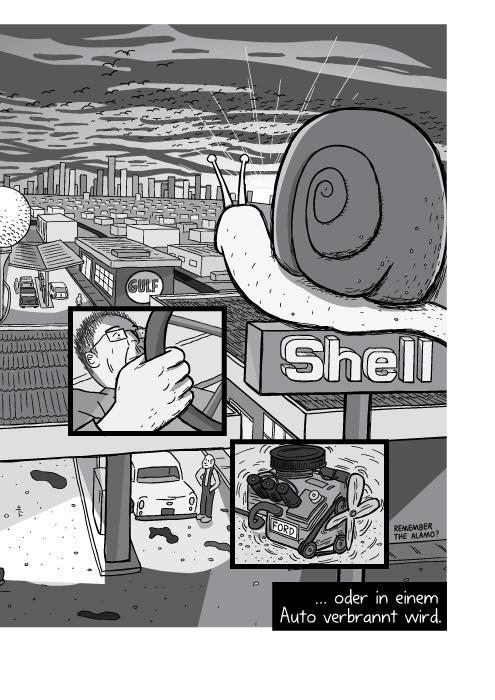 Eine Shell-Tankstelle mit einer Stadt im Sonnenuntergang. … oder in einem Auto verbrannt wird.