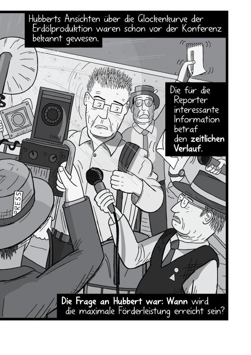 Ein Mann wird von Paparazzis bedrängt. Hubberts Ansichten über die Glockenkurve der Erdölproduktion waren schon vor der Konferenz bekannt gewesen. Die für die Reporter interessante Information betraf den zeitlichen Verlauf. Die Frage an Hubbert war: Wann wird die maximale Förderleistung erreicht sein?