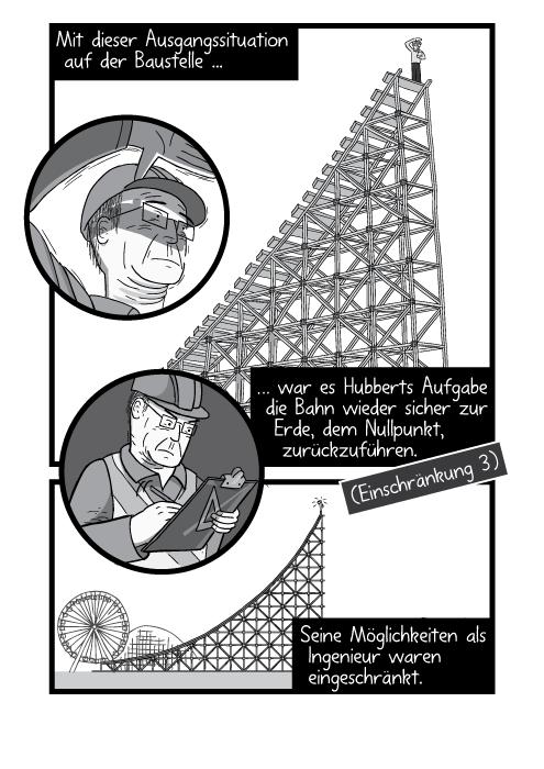 Ein Mann steht am Anstieg der Achterbahn. Mit dieser Ausgangssituation auf der Baustelle war es Hubberts Aufgabe die Bahn wieder sicher zur Erde, dem Nullpunkt, zurückzuführen. Seine Möglichkeiten als Ingenieur waren eingeschränkt.