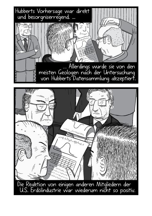 Eine Gruppe von Menschen liest ein paar wissenschaftliche Veröffentlichungen. Hubberts Vorhersage war direkt und besorgniserregend. Allerdings wurde sie von den meisten Geologen nach der Untersuchung von Hubberts Datensammlung akzeptiert. Die Reaktion von einigen anderen Mitgliedern der U.S. Erdölindustrie war wiederum nicht so positiv.
