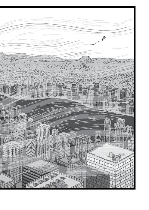 Vogelperspektive auf eine Stadt. An den Hochhäusern sind Windturbulenzen erkennbar. Ein kleiner Luftballon wird in den Himmel geweht.
