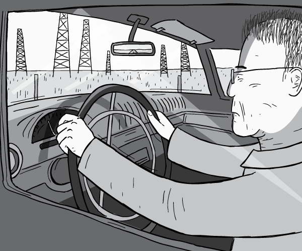 Drawing of a man driving a car. Side view of M. King Hubbert driving a 1956 Ford Thunderbird on a highway past oil derricks. Side view of Ford Thunderbird interior. Man looking ahead concentrating while driving.