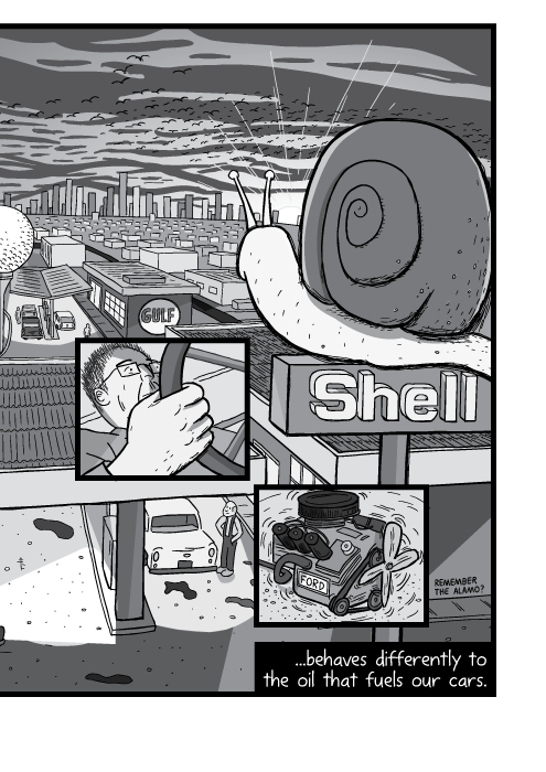 High angle Shell service station drawing black and white. Cartoon city at sunset illustration. ...behaves differently to the oil that fuels our cars.