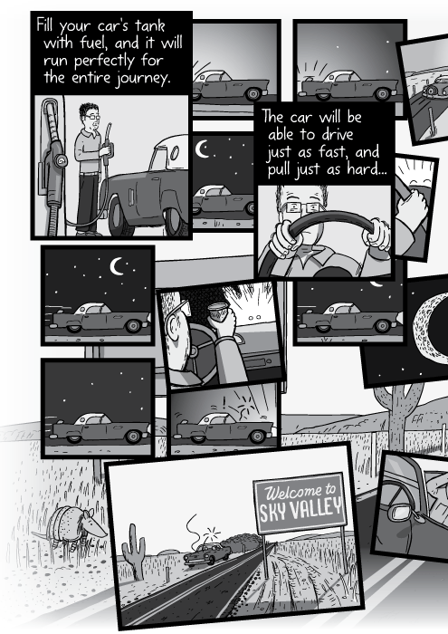 Black and white comic of car driving day and night. Fill your car's tank with fuel, and it will run perfectly for the entire journey. The car will be able to drive just as fast, and pull just as hard...