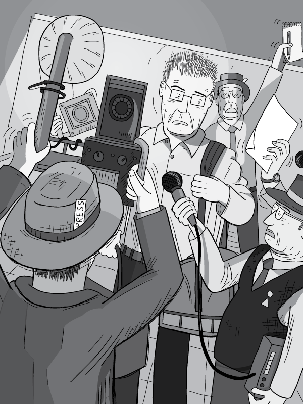 Man being ambushed by journalists. Media scrum of reporters and photographers surrounding a surprised man carrying a bag into hotel lobby. Dutch angle drawing of cartoon paparazzi with press card in hat.