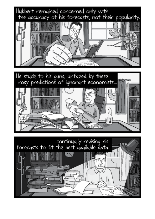 Cartoon progression of man working at desk. Passing of time desk becoming messy. Hubbert remained concerned only with the accuracy of his forecasts, not their popularity. He stuck to his guns, unfazed by these rosy predictions of ignorant economists... ...continually revising his forecasts to fit the best available data.