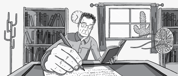 Low angle wide shot of man working at office desk. Close-up foreshortening of writing hand and pen.