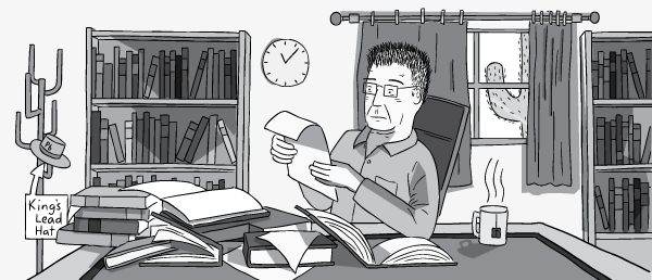 Cartoon man with glasses working at messy office desk during daytime. Leaning back in chair, reading a piece of paper.
