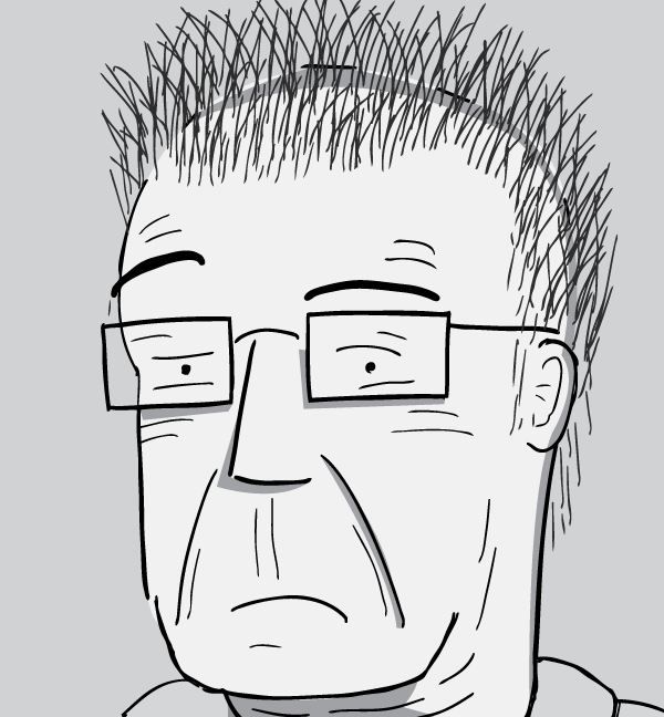 Cartoon man with glasses with sceptical, quizzical look on his face.