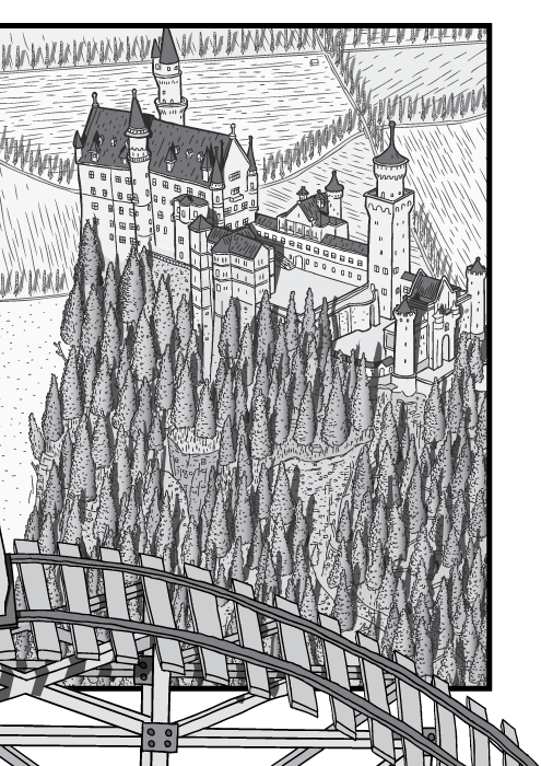 High angle cartoon drawing of Neuschwanstein Castle. Black and white castle and pine tree forest.