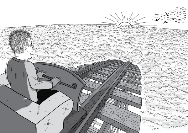 Rear view over the shoulder of man in roller coaster car that is about to roll down a slope. The man looks nervous, and is gripping the handle tightly. Black and white drawing of roller coaster slope. Above the clouds at sunset.
