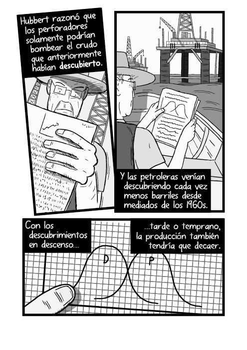 Cómico ilustración hombre leyendo mapas gráficas bote lancha. Hubbert razonó que los perforadores solamente podrían bombear crudo que habrían descubierto primero. Y las compañías venían descubriendo menos y menos yacimientos cada año desde mediados de los 1960s. Con descubrimientos en descenso tarde o temprano, la producción también tendría que decaer. Descubrimientos. Producción.