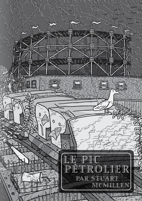 """La BD """"Le Pic Pétrolier"""" par Stuart McMillen. Page de titre. RollerCoaster (Montagnes Russes) par Red House Painters. Un dessin en noir et blanc de montagnes russes dans un parc de loisirs abandonné."""