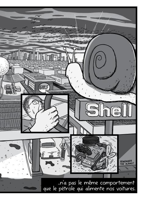 Dessin en plongée d'une station d'essence Shell. Dessin de ville au crépuscule. ..n'a pas le même comportement que le pétrole qui alimente nos voitures.