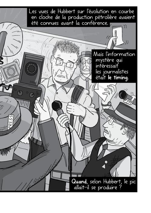 Dessin d'un homme encerclé par les photographes. Dessin de paparazzi. Les vues de Hubbert sur l'évolution en courbe en cloche de la production pétrolière avaient été connues avant la conférence. Mais l'information mystère qui intéressait les journalistes était le timing. Quand, selon Hubbert, le pic allait il se produire ?
