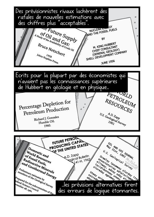 """Dessins de piles de livres et de revues académiques sur une table. Des prévisionnistes rivaux lachèrent des rafales de nouvelles estimations avec des chiffres plus """"acceptables"""". Ecrits pour la plupart par des économistes qui n'avaient pas les connaissances supérieures de Hubbert en géologie et en physique les prévisions alternatives firent des erreurs de logique étonnantes."""