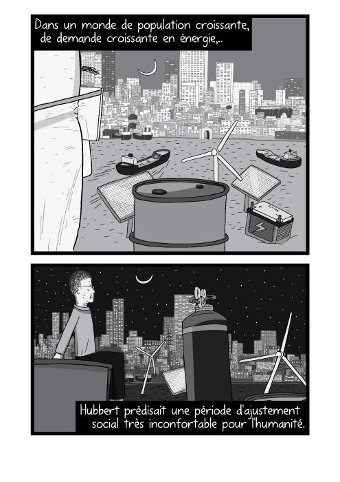 Dessin d'un homme contemplant une ville au crépuscule, dessin du crépuscule en noir et blanc. Dans un monde de population croissante, de demande croissante en énergie, Hubbert prédisait une période d'ajustement social très inconfortable pour l'humanité.