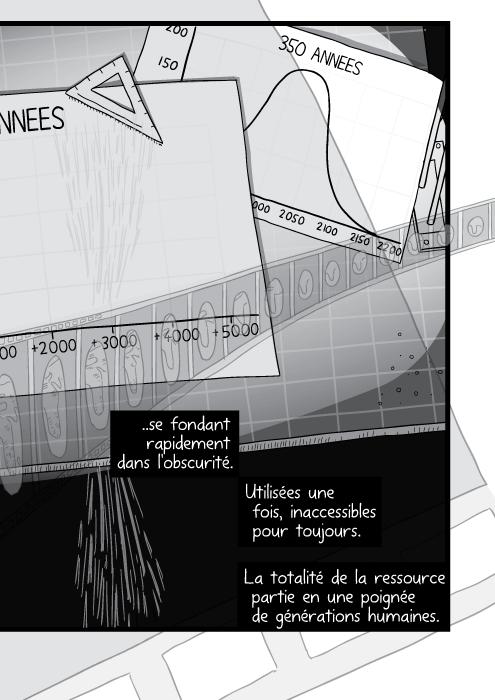 Dessin d'une table à dessin encombrée. Des piles de papiers sur le bureau de l'architecte. ..se fondant rapidement dans l'obscurité. Utilisées une fois, inaccessibles pour toujours. La totalité de la ressource partie en une poignée de générations humaines.