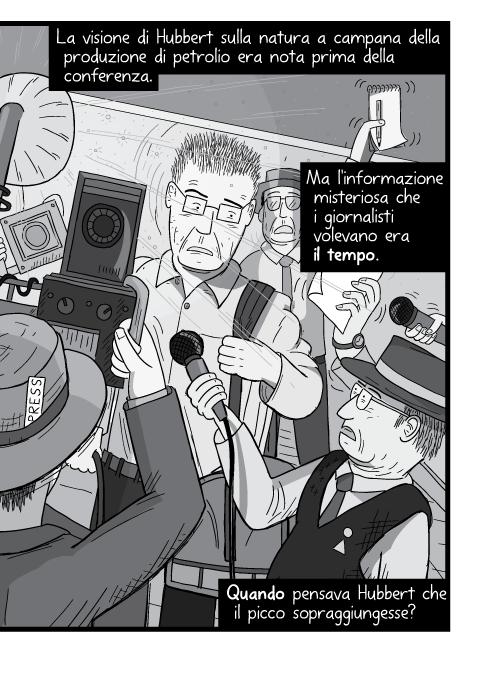 La visione di Hubbert sulla natura a campana della produzione di petrolio erano noti prima della conferenza. Ma l'informazione misteriosa che i giornalisti volevano era il tempo. Quando pensava Hubbert che il picco sopraggiungesse?