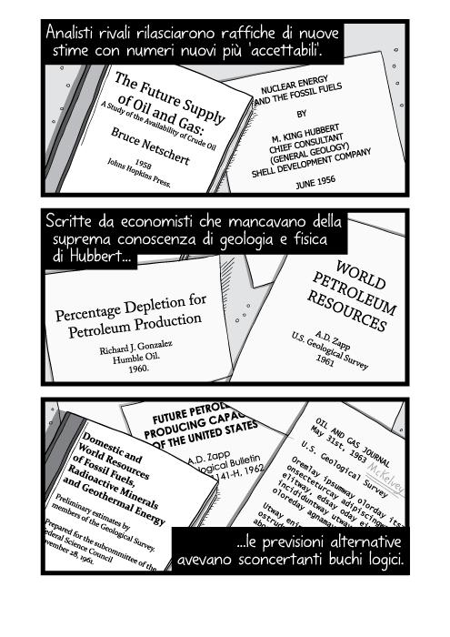 Analisti rivali rilasciarono raffiche di nuove stime con numeri nuovi più 'accettabili'. Scritte da economisti che mancavano della suprema conoscenza di geologia e fisica di Hubbert le previsioni alternative avevano sconcertanti buchi logici.