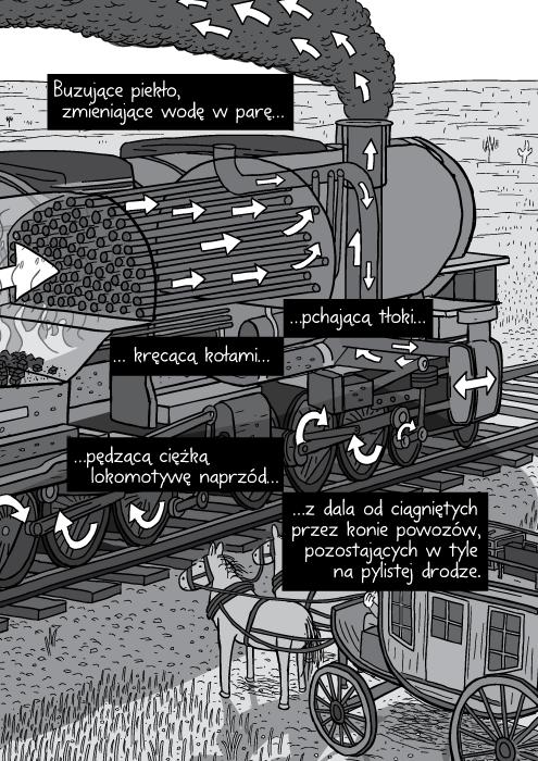 Buzujące piekło, zmieniające wodę w parę pchającą tłoki kręcącą kołami pędzącą ciężką lokomotywę naprzód z dala od ciągniętych przez konie powozów, pozostających w tyle na pylistej drodze.