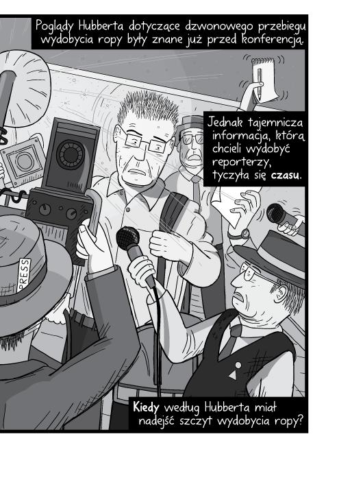 Poglądy Hubberta dotyczące dzwonowego przebiegu wydobycia ropy były znane już przed konferencją. Jednak tajemnicza informacja, którą chcieli wydobyć reporterzy, tyczyła się czasu. Kiedy według Hubberta miał nadejść szczyt wydobycia ropy?