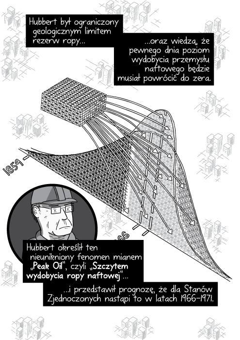 """Hubbert był ograniczony geologicznym limitem rezerw ropy oraz wiedzą, że pewnego dnia poziom wydobycia przemysłu naftowego będzie musiał powrócić do zera. Hubbert określił ten nieunikniony fenomen mianem """"Peak Oil"""", czyli """"Szczytem wydobycia ropy naftowej"""" i przedstawił prognozę, że dla Stanów Zjednoczonych nastąpi to w latach 1966-1971."""