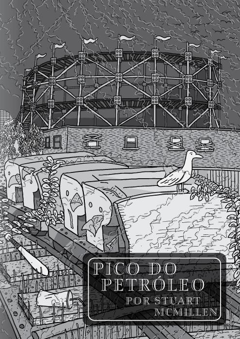 Pico do Petróleo por Stuart McMillen. Página título. Montanha-russa por Red House Painters. Desenho em preto e branco do vagão da montanha-russa em um parque de diversão abandonado.