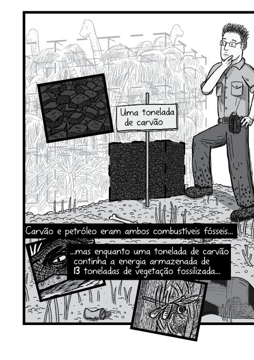 Homem em pé ao lado de pilha de carvão, desenho cartum. Uma tonelada de e petróleo eram ambos combustíveis fósseis mas enquanto uma tonelada de carvão continha a energia armazenada de 13 toneladas de vegetação fossilizada...