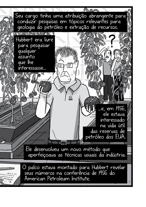 Cartum em preto e branco de homem na estufa segurando tomates. Seu cargo tinha uma atribuição abrangente para conduzir pesquisas em tópicos relevantes para geologia do petróleo e extração de recursos. Hubbert era livre para pesquisar qualquer assunto que lhe interessasse e, em 1956, ele estava interessado na vida útil das reservas de petróleo dos EUA. Ele desenvolveu um novo método que aperfeiçoava as técnicas usuais da indústria. O palco estava montado para Hubbert revelar seus números na conferência de 1956 do American Petroleum Institute.