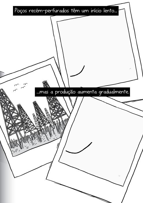 Desenho em preto e branco de Polaroid. Ilustração de torres de petróleo do Texas. Poços recém-perfurados têm um início lento mas a produção aumenta gradualmente.