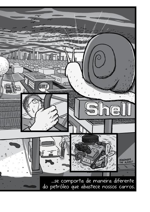 Desenho em preto e branco de visão superior de posto da Shell. Ilustração em cartum de pôr do sol na cidade. ...se comporta de maneira diferente do petróleo que abastece nossos carros.