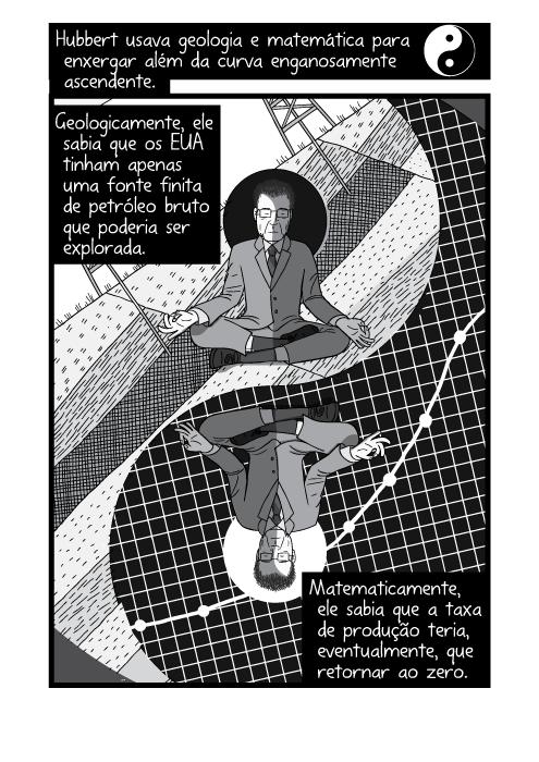 Quadrinho em preto e branco parodiando yin e yang. Hubbert usava geologia e matemática para enxergar além da curva enganosamente ascendente. Geologicamente, ele sabia que os EUA tinham apenas uma fonte finita de petróleo bruto que poderia ser explorada. Matematicamente, ele sabia que a taxa de produção teria, eventualmente, que retornar ao zero.