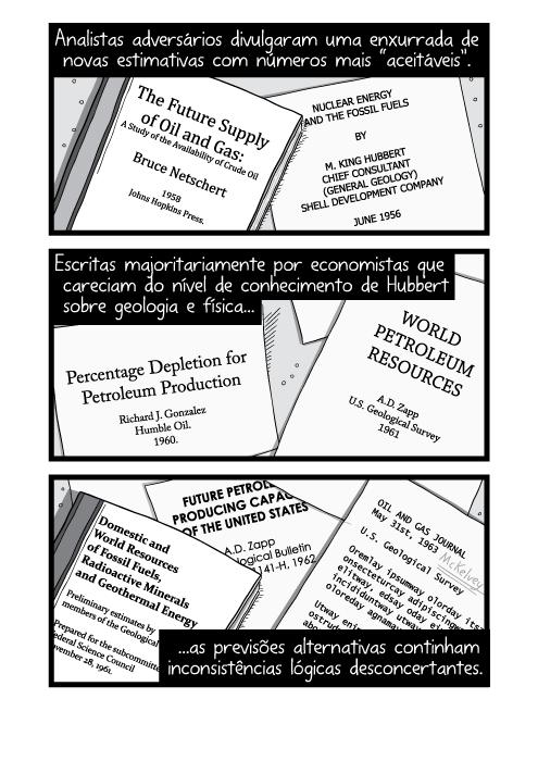 """Ilustração de pilhas de livros e teses acadêmicas sobre a mesa. Analistas adversários divulgaram uma enxurrada de novas estimativas com números mais """"aceitáveis"""". Escritas majoritariamente por economistas que careciam do nível de conhecimento de Hubbert sobre geologia e física as previsões alternativas continham inconsistências lógicas desconcertantes."""