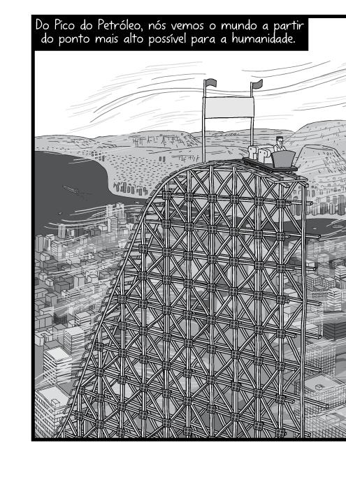 Cartum encosta da montanha-russa, cena da visão superior de cidade. Ilustração em preto e branco de vista sobre cidade urbana moderna. Do Pico do Petróleo, nós vemos o mundo a partir do ponto mais alto possível para a humanidade.