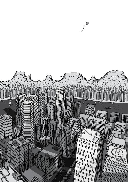 Desenho de visão superior de arranha-céus no centro da cidade. Ilustração em preto e branco de panorama urbano com montanhas a distância.