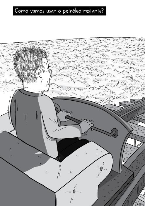 Desenho por cima do ombro de homem na montanha-russa. Prestes a descer a ladeira no carrinho da montanha-russa cartum. Como vamos usar o petróleo restante?