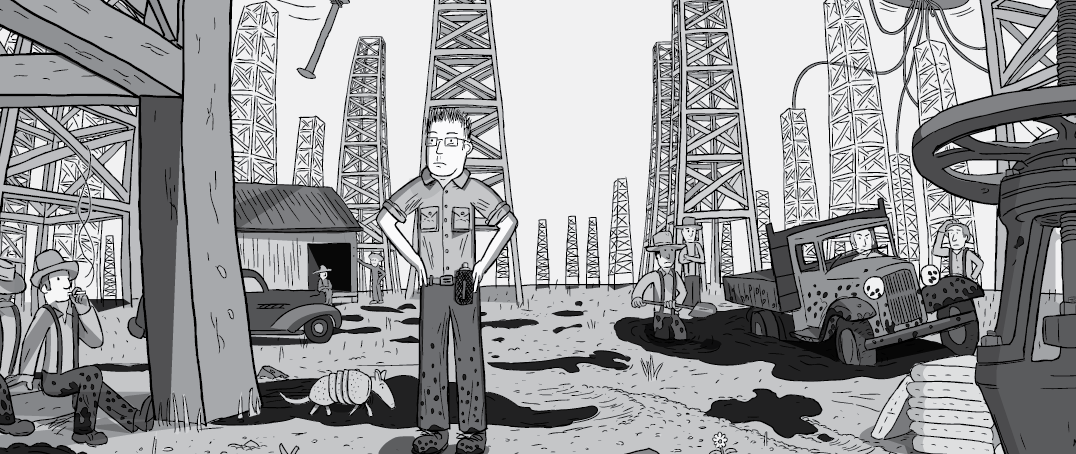 Cartoon man standing on oil fields