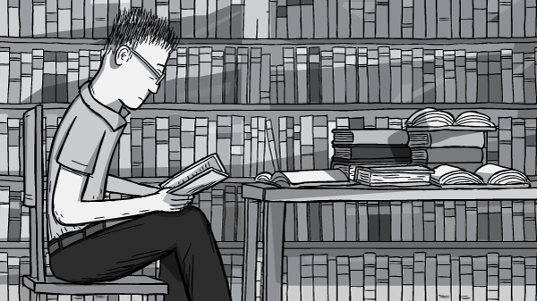 Cartoon student with glasses sitting at a desk in a library. Reading a book and studying in front of the library book shelves. Black and white drawing of young man reading.