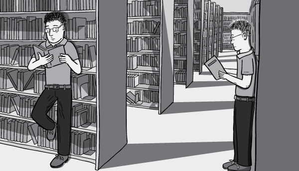 Young man in-between library shelves cartoon. Reading books standing up whilst leaning against the shelves. Black and white drawing of library shelf corridor.