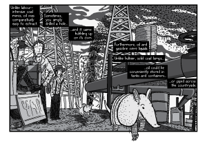 Low angle close up of armadillo walking through oil field. Oilfield workers watch the armadillo walking underneath an oil pipeline and oil derricks. Black and white comic artwork.