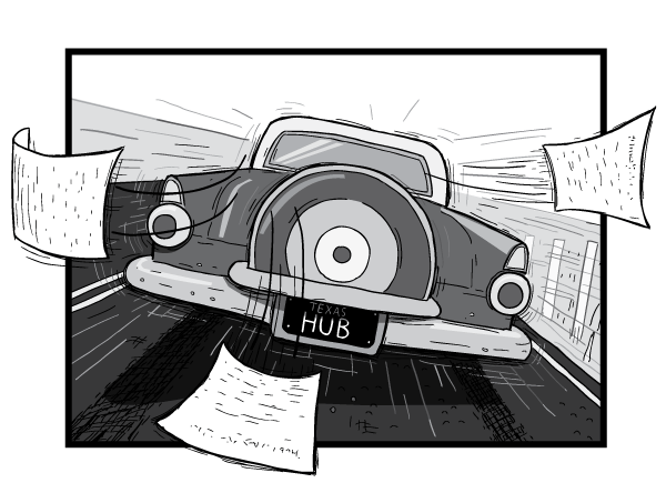 Rear view of a car driving away from the viewer. Cartoon 1956 Ford Thunderbird rear bumper and tail lights.