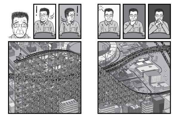 A half-complete roller coaster structure towers above a city. High-angle view of rollercoaster slope. Black and white cartoon drawing of worried man in roller coaster car.