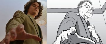 Comparison of reference photograph and cartoon illustration based on that reference image
