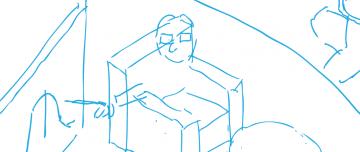 Blue sketchy linework. Draft cartoon artwork.