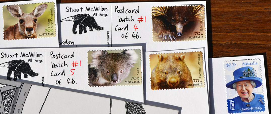 Australian postage stamps, featuring Australian animals on handwritten postcards