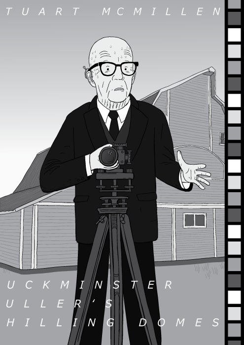 "Cartoon Buckminster Fuller standing in front of a camera. Elvis Costello ""This Year's Model"" pose tribute parody."