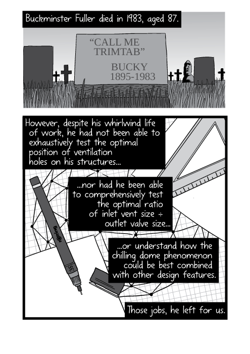"Black and white comic showing Buckminster Fuller's grave. Buckminster Fuller died in 1983, aged 87. ""Call me trimtab."" - Bucky (1895-1983) However, despite his whirlwind life of work, he had not been able to exhaustively test the optimal position of ventilation holes on his structures, nor had he been able to comprehensively test the optimal ratio of inlet vent size ÷ outlet valve size, or understand how the chilling dome phenomenon could be best combined with other design features. Those jobs, he left for us."